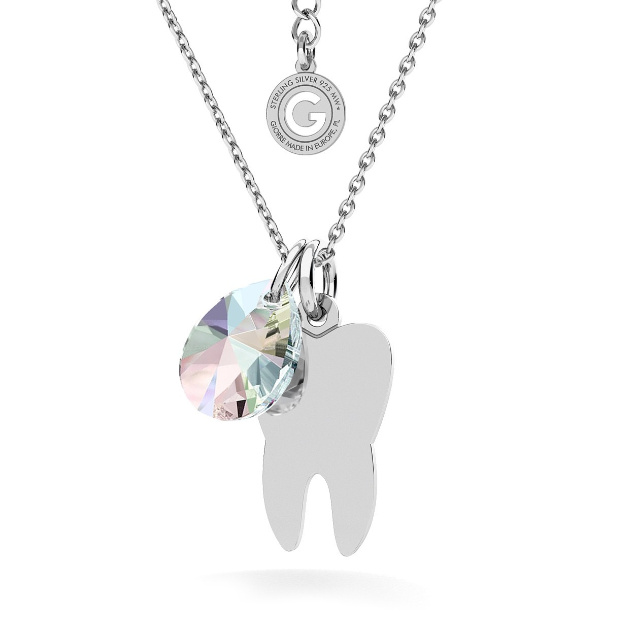 TOOTH NECKLACE, ENGRAVED AND SWAROVSKI CRYSTAL
