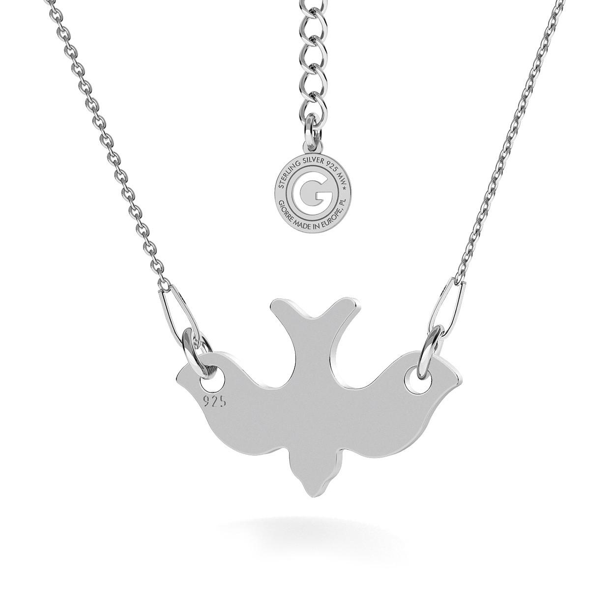 Srebrny naszyjnik celebrytka jaskółka, lecący ptak 925