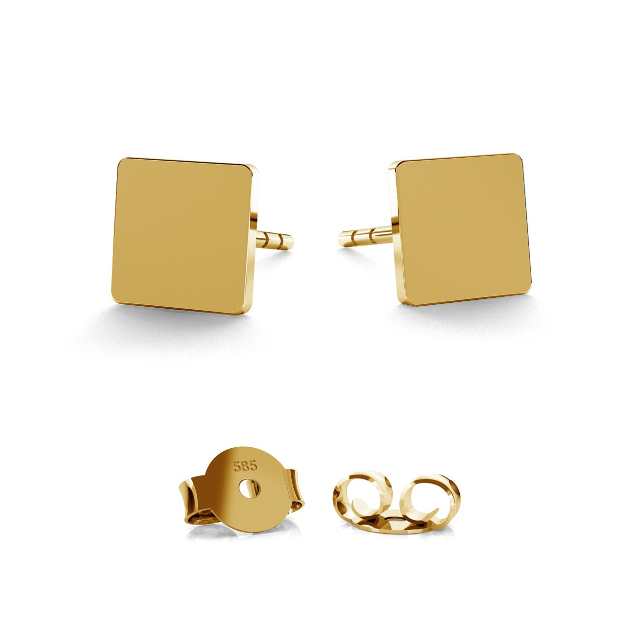 14K GOLD SQUARE EARRING, MODEL 590
