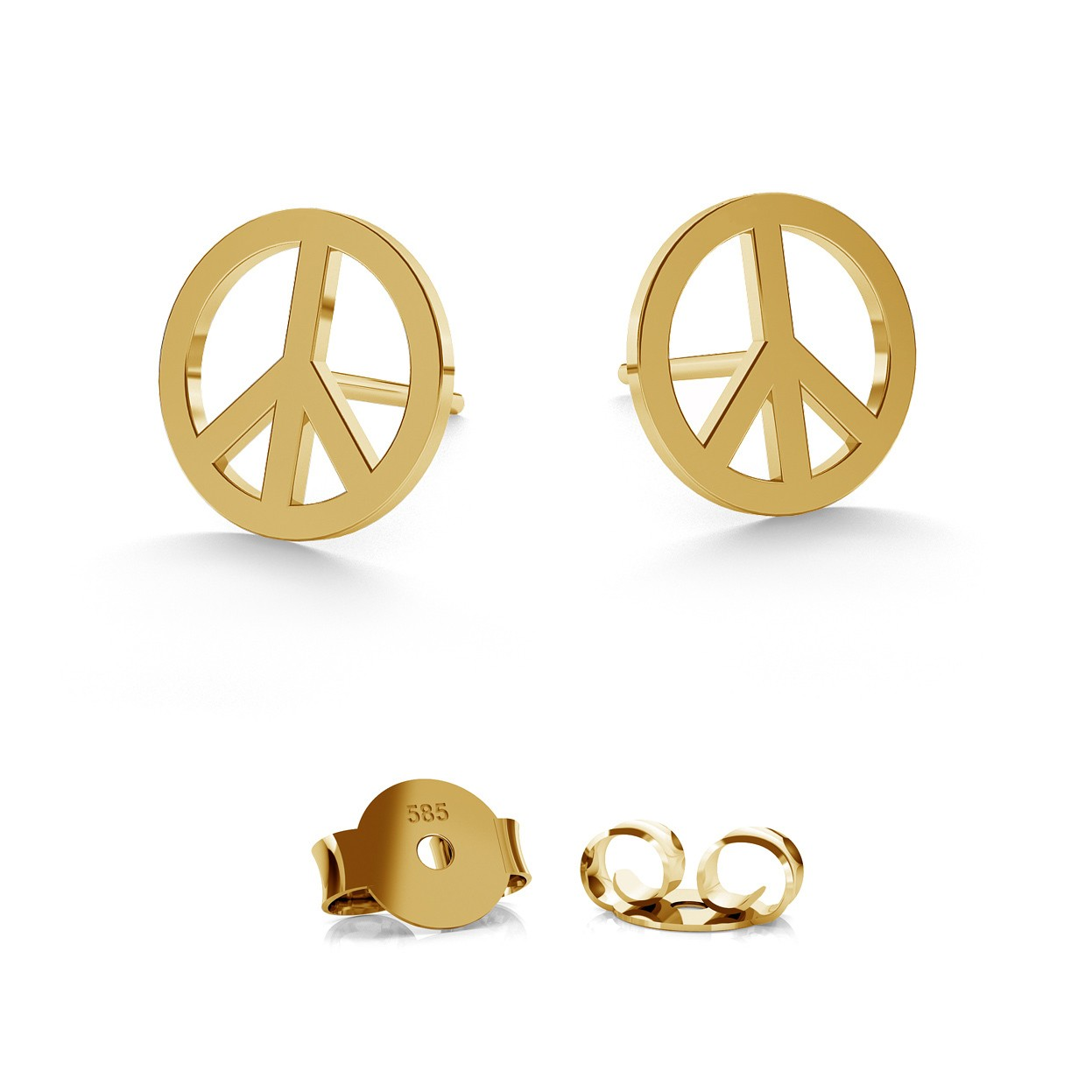 14K GOLD PEACE SYMBOL EARRING, MODEL 590