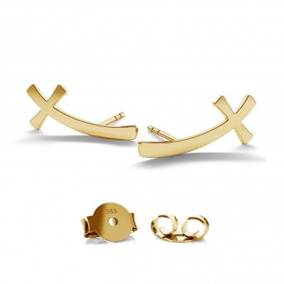 14K GOLD CROSS EARRING, MODEL 690