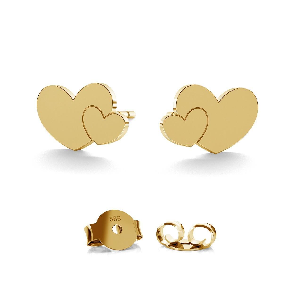 DOUBLE HEARTS EARRING 14K GOLD, MODEL 702