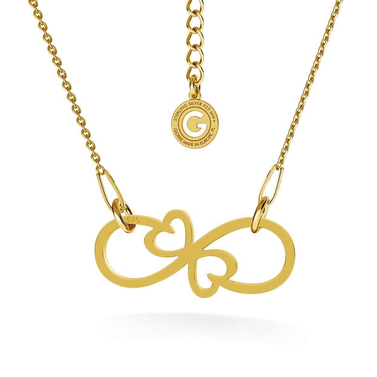 Símbolo de indefinido con corazones, gargantilla plata 925