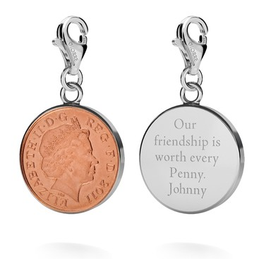 Srebrny charms szczęśliwy pens, moneta grawer 925
