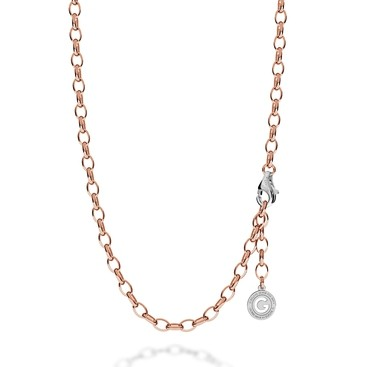 STERLING SILVER NECKLACE 55-65 CM PINK GOLD, LIGHT RHODIUM CLASP, LINK 7X5 MM