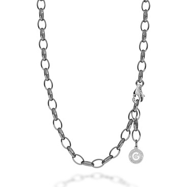 STERLING SILVER NECKLACE 55-65 CM BLACK RHODIUM, LIGHT RHODIUM CLASP, LINK 9X6,5 MM