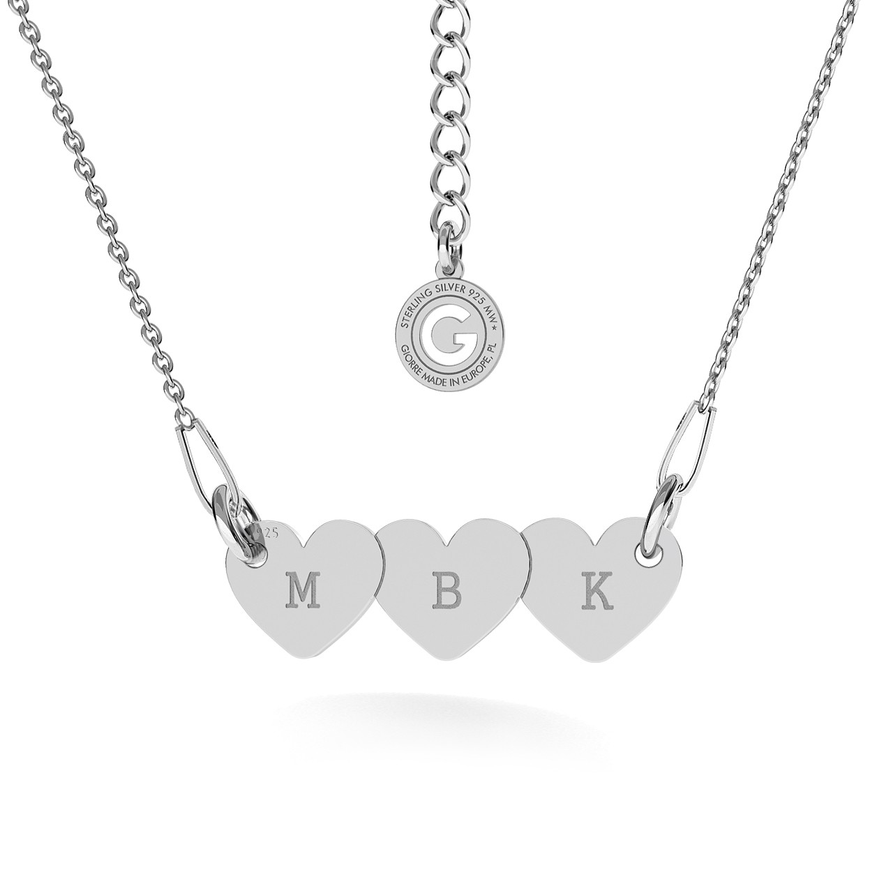 Srebrny naszyjnik trzy serca grawer 925