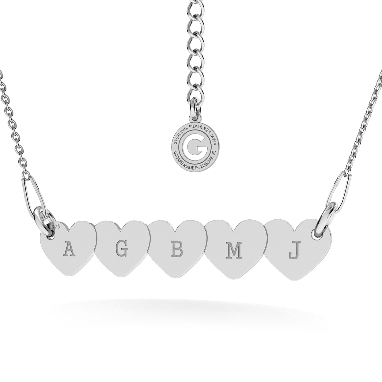 PERSONALIZED FIVE HEARTS NECKLACE