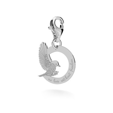 CHARM 95, PENDANT FREE AS A BIRD WITH ENGRAVE,  SILVER 925,  RHODIUM OR GOLD PLATED