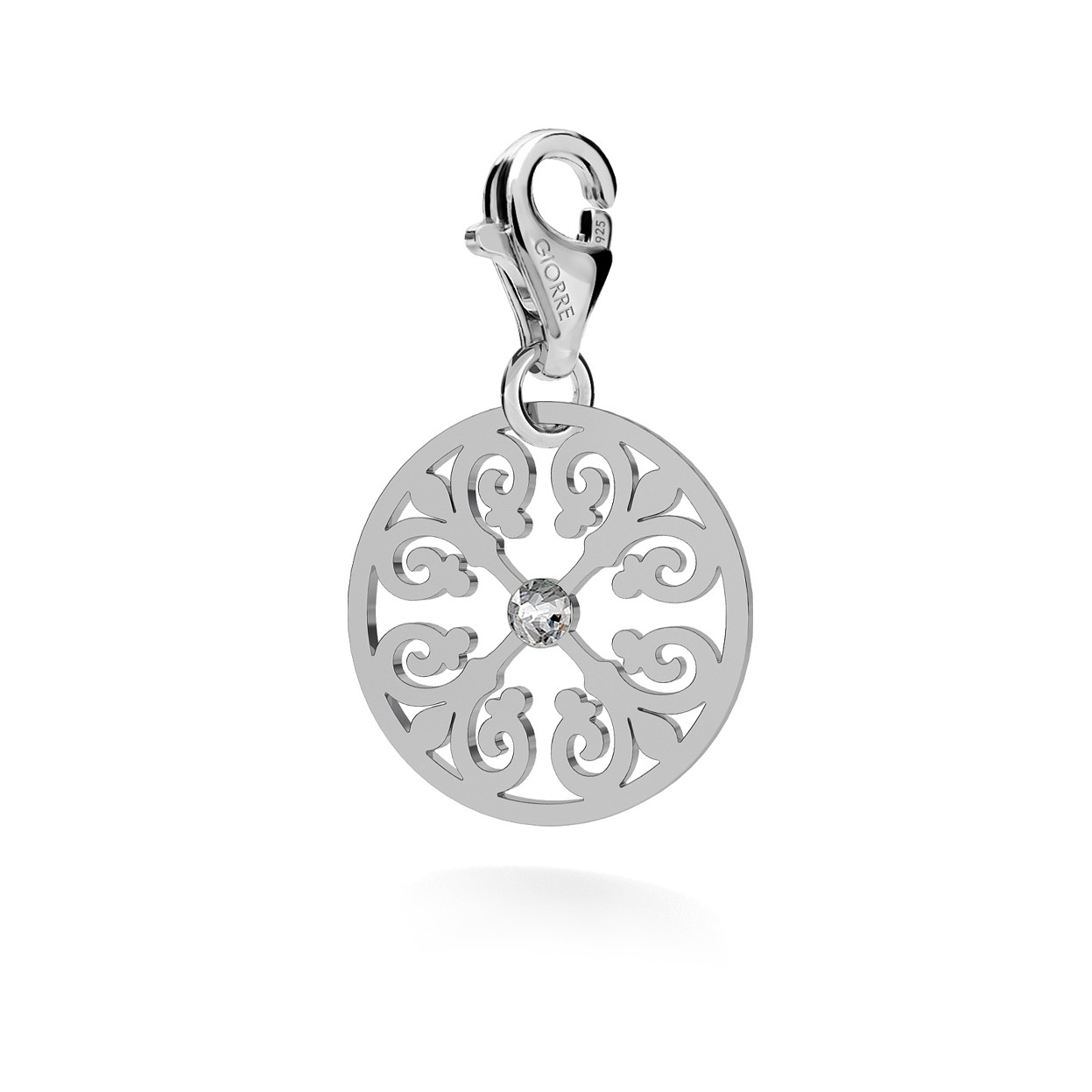CHARM 94, ROUND OPENWORK PENDANT, SWAROVSKI 2038 SS 6 HF CRYSTAL, SILVER 925,  RHODIUM OR GOLD PLATED