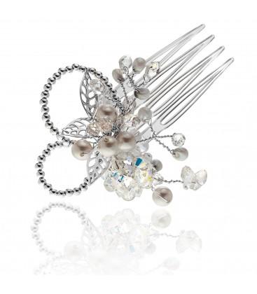 Ślubny grzebyczek do włosów z kryształami – model 3