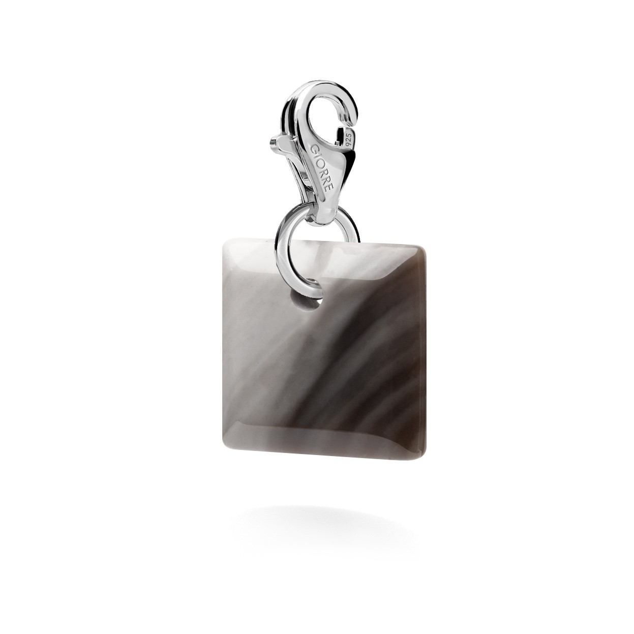 CHARM 85, STRIPED FLINT, SILVER 925,  RHODIUM OR GOLD PLATED