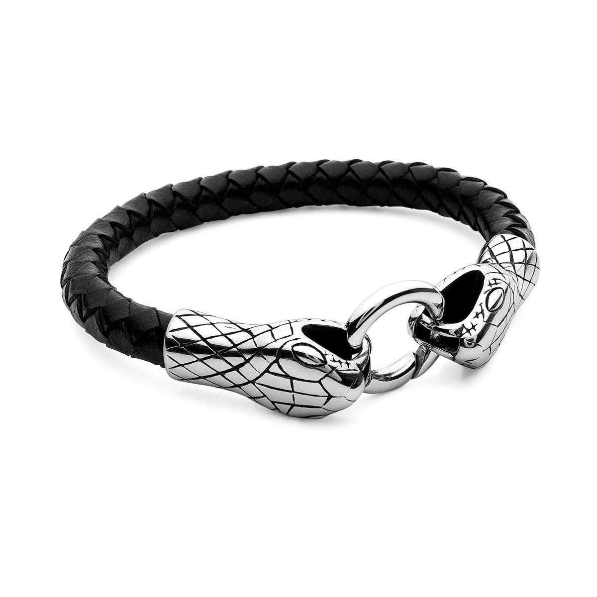 Bracciale in cuoio con serpente, acciaio – modello 019