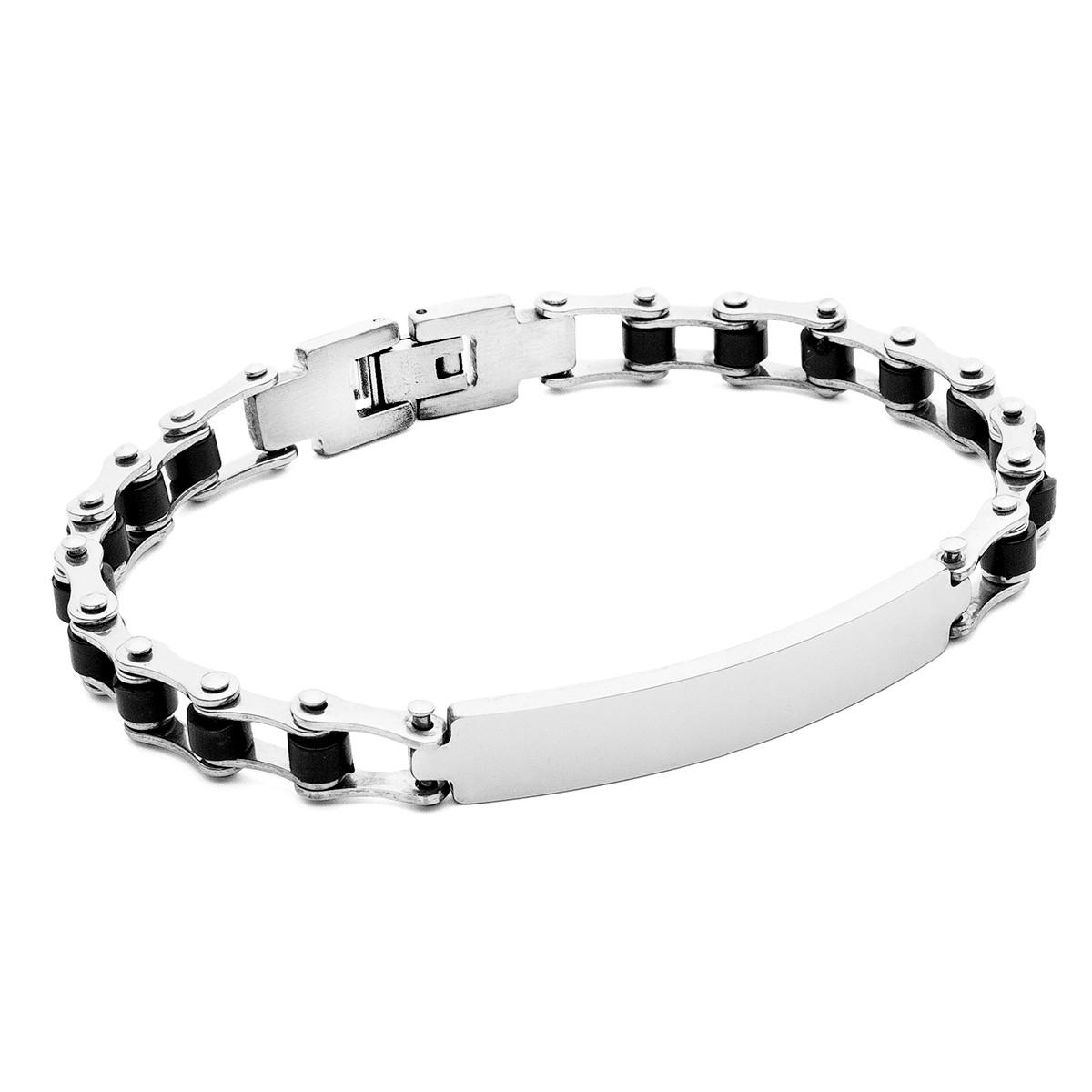 Bracelet chaîne moto, gravure, acier - modèle 018