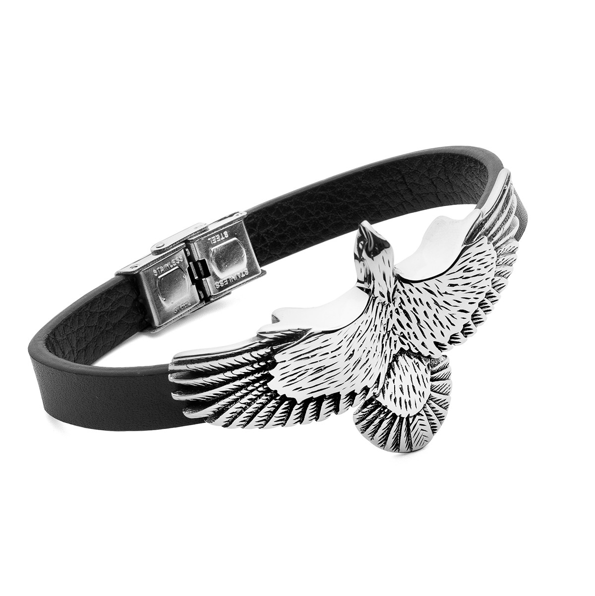 Eagle leather bracelet, stainless steel - model 025