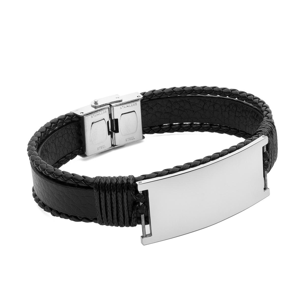Bracelet cuir avec plaque, lanière, acier - modèle 037
