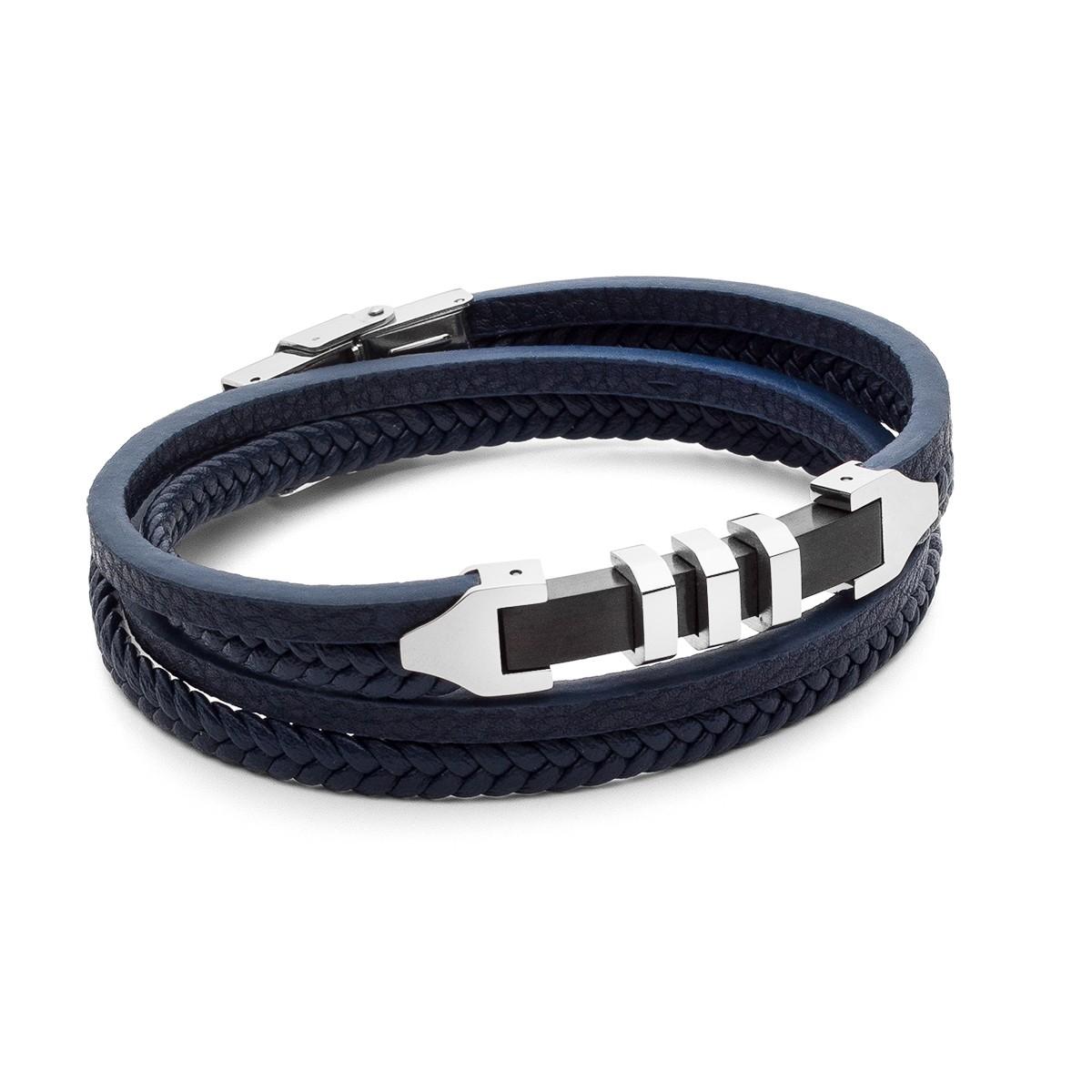 Bracciale personalizzato blue doppio giro con piastra, acciaio – modello 040