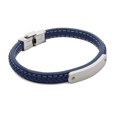 BLUE PERSONALIZED RECTANGLE BRACELET, STEEL - MODEL 040