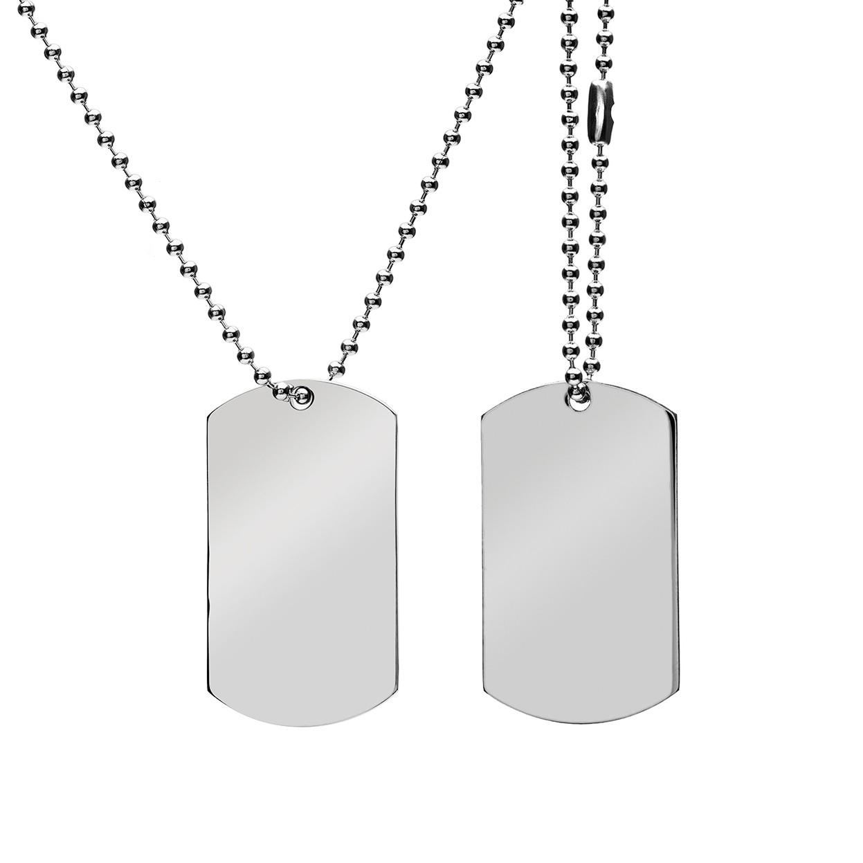 Ensemble plaque d'identité militaire avec gravure - acier - modèle 004