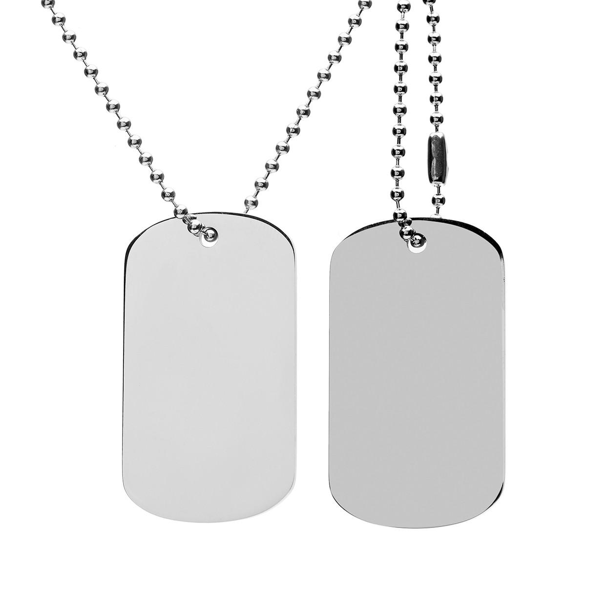 Ensemble plaque d'identité militaire avec gravure - acier - modèle 005