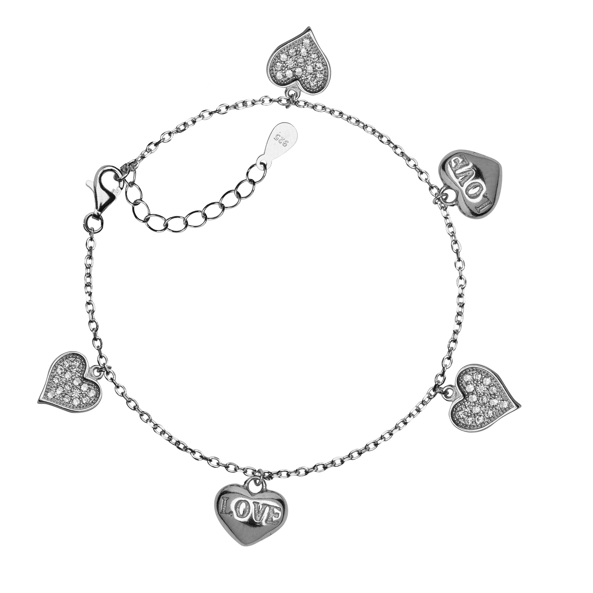 BRACELET WITH HEARTS AND CRYSTALS MODEL  A003