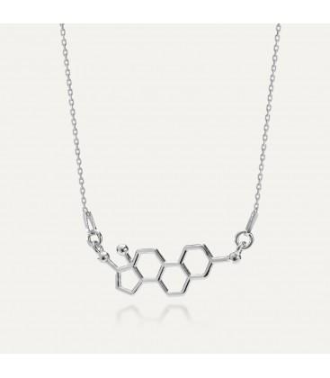 Srebrny naszyjnik estrogen, wzór chemiczny 925