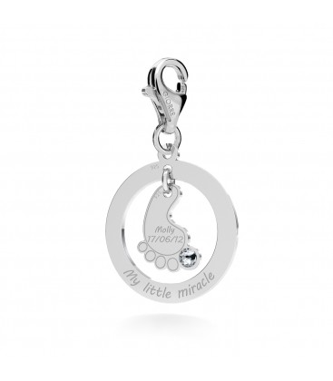 BABY FEET WITH ENGRAVING & SWAROVSKI CHARMS PENDANT BEAD