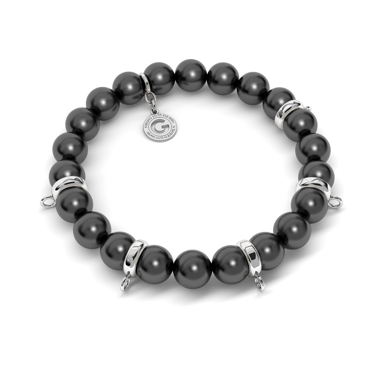 FLEXIBLE BRACELET WITH PEARLS (SWAROVSKI PEARL) FOR 5 CHARMS, SILVER 925,  RHODIUM OR GOLD PLATED