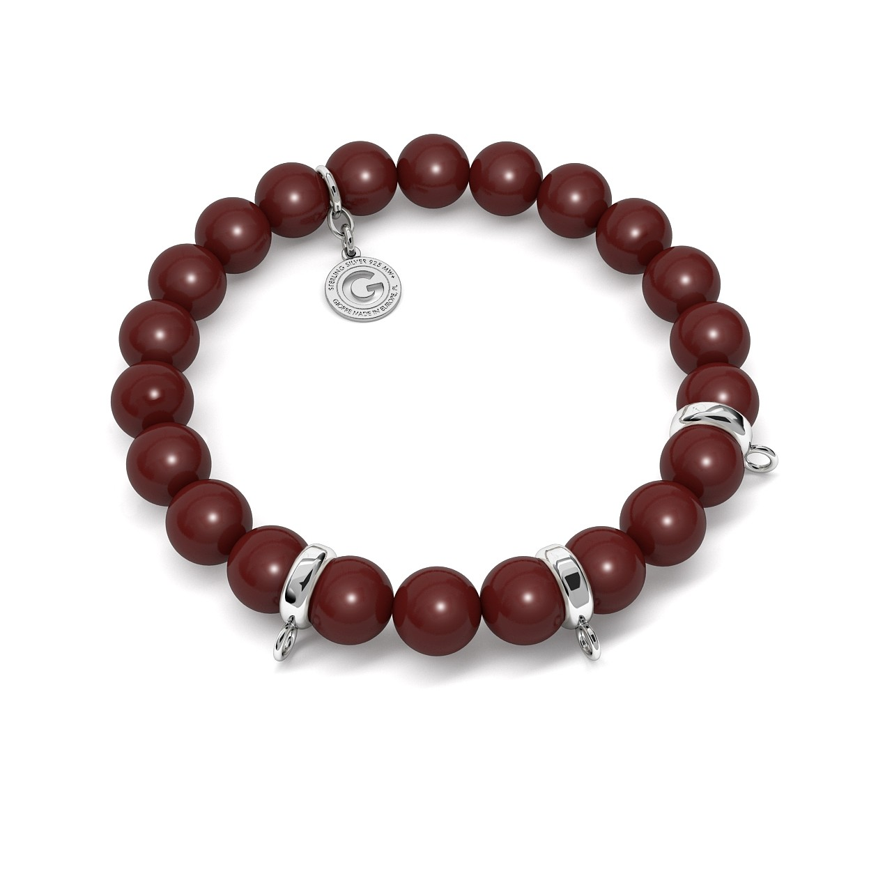 FLEXIBLE BRACELET WITH PEARLS (SWAROVSKI PEARL) FOR 3 CHARMS, SILVER 925, RHODIUM OR GOLD PLATED