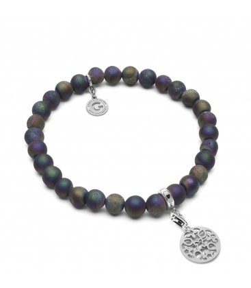 FLEXIBLE BRACELET WITH NATURAL STONES AGATHE