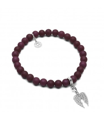 AGAT BURGUND, FLEXIBLE BRACELET WITH NATURAL STONES