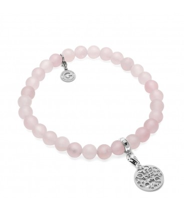 FLEXIBLE BRACELET WITH NATURAL STONES PINK QUARZ