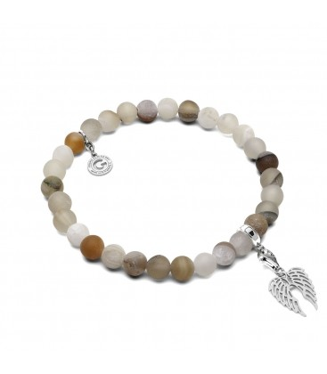 AGATE PALE, FLEXIBLE BRACELET WITH NATURAL STONES AGATE PALE