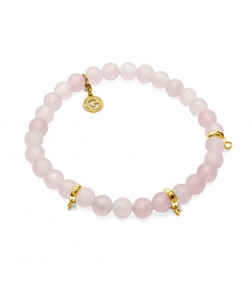 PINK QUARZ, FLEXIBLE BRACELET FOR 3 CHARMS, WITH NATURAL STONES