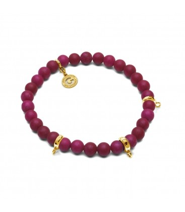 AGAT BURGUND, FLEXIBLE BRACELET FOR 3 CHARMS, WITH NATURAL STONES