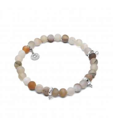 AGATE PALE, FLEXIBLE BRACELET FOR 3 CHARMS, WITH NATURAL STONES
