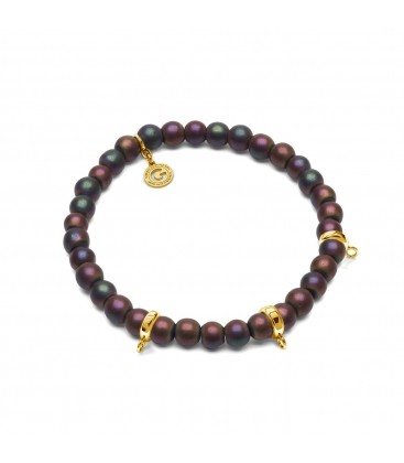 HEMATITE MULTICOLOR, FLEXIBLE BRACELET FOR 3 CHARMS, WITH NATURAL STONES