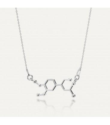 Srebrny naszyjnik adrenalina, wzór chemiczny, srebro 925
