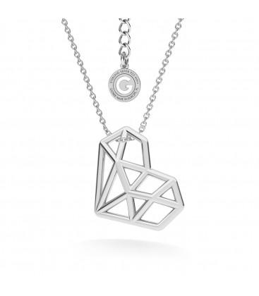 Corazon de origami collar, plata 925