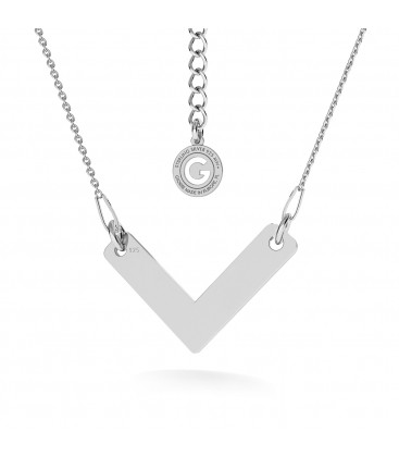 V NECKLACE, STERLING SILVER 925