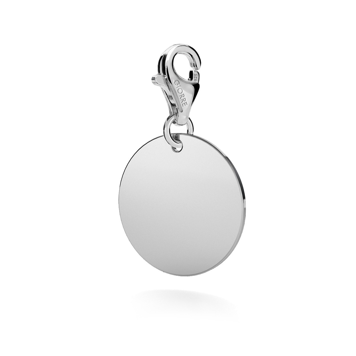 CHARM WITH ENGRAVE, RING, SILVER 925,  RHODIUM OR GOLD PLATED
