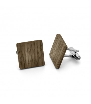 WOOD CUFFLINK WITH ENGRAVE, STERLING SILVER 925