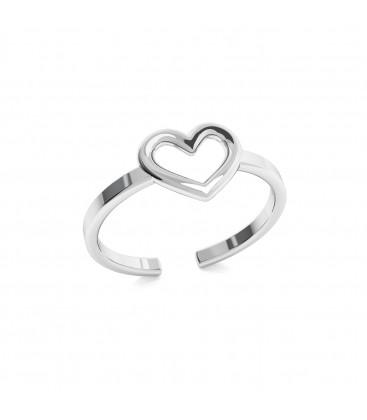 Srebrny pierścionek z sercem, srebro 925
