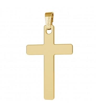 Złota zawieszka krzyż, grawer, au 585