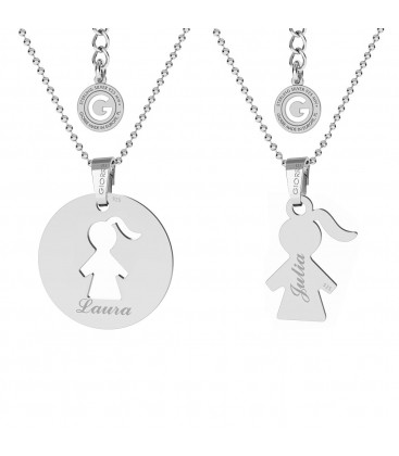 NECKLACE FOR MOTHER & CHILD, GIRL ENGRAVEING, STERLING SILVER 925