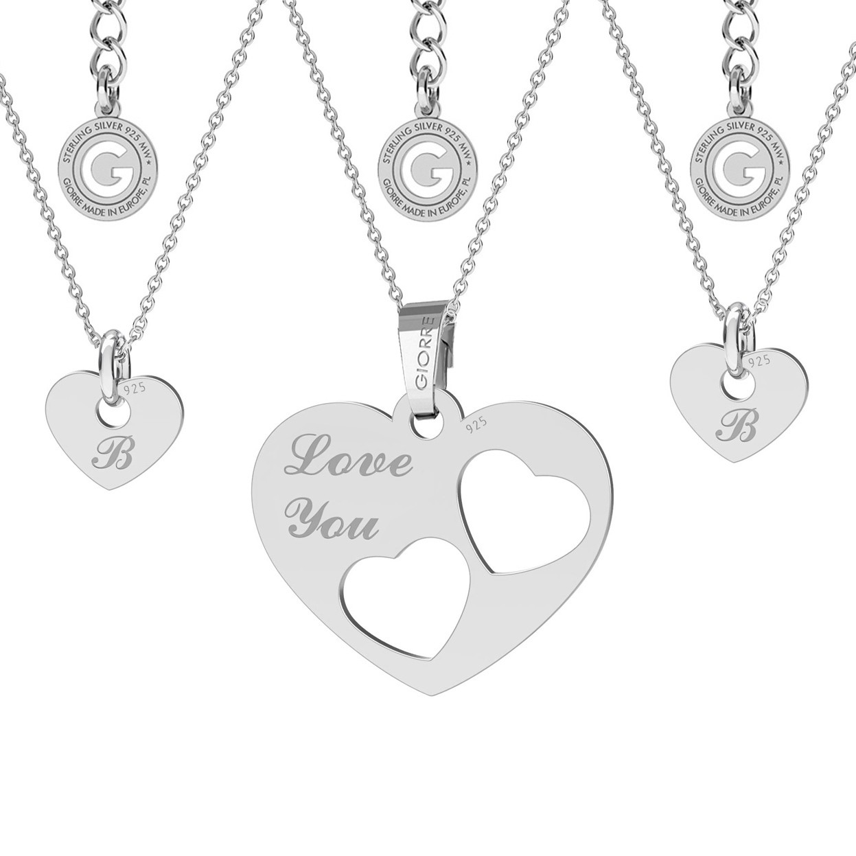NECKLACE FOR MOTHER & CHILD, HEART ENGRAVEING, STERLING SILVER 925
