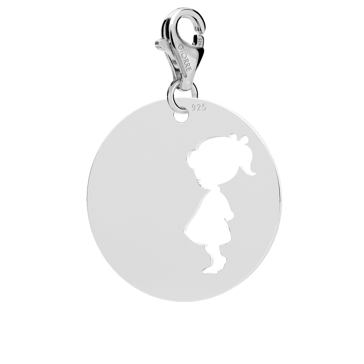 GIRL CHARMS WITH ENGRAVING, STERLING SILVER 925