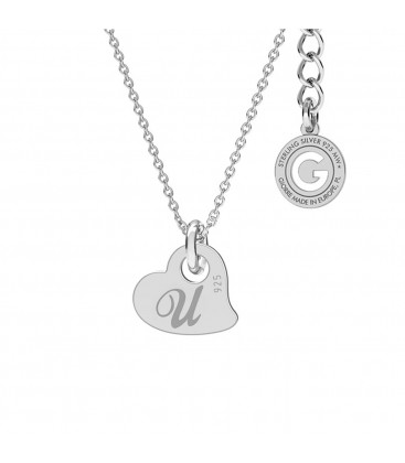 NECKLACE GIRL, HEART ENGRAVEING, STERLING SILVER 925