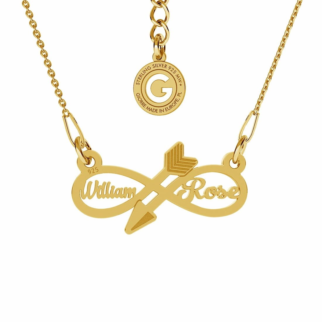 INFINITY SIGN WITH YOUR TEXT NECKLACE STERLING SILVER 925
