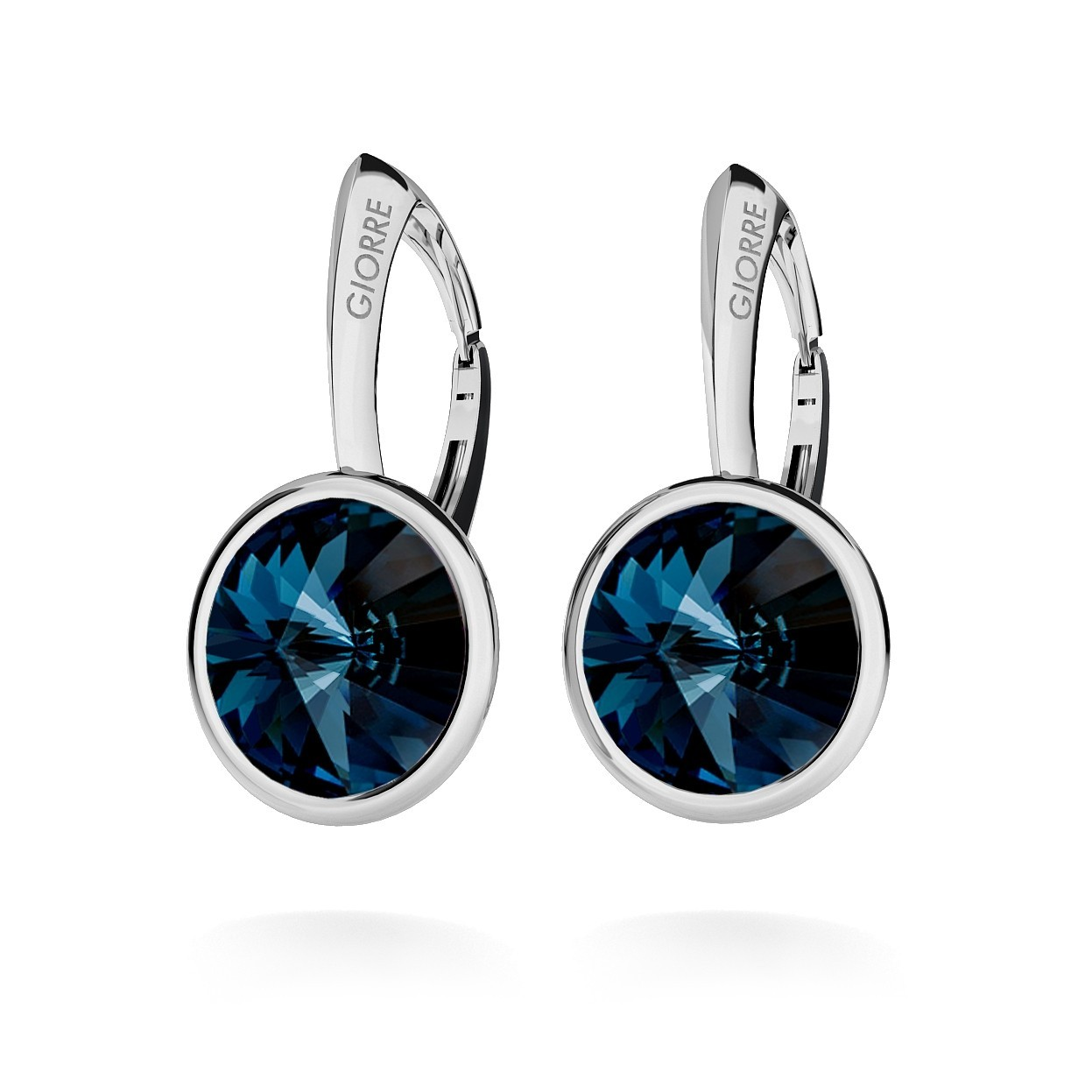 RIVOLI EARRINGS, SWAROVSKI 1122 MM 10, STERLING SILVER (925) RHODIUM OR GOLD PLATED